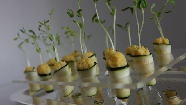 PHOTO: Andrea Correale's cucumber roulades with lemon hummus are shown here.