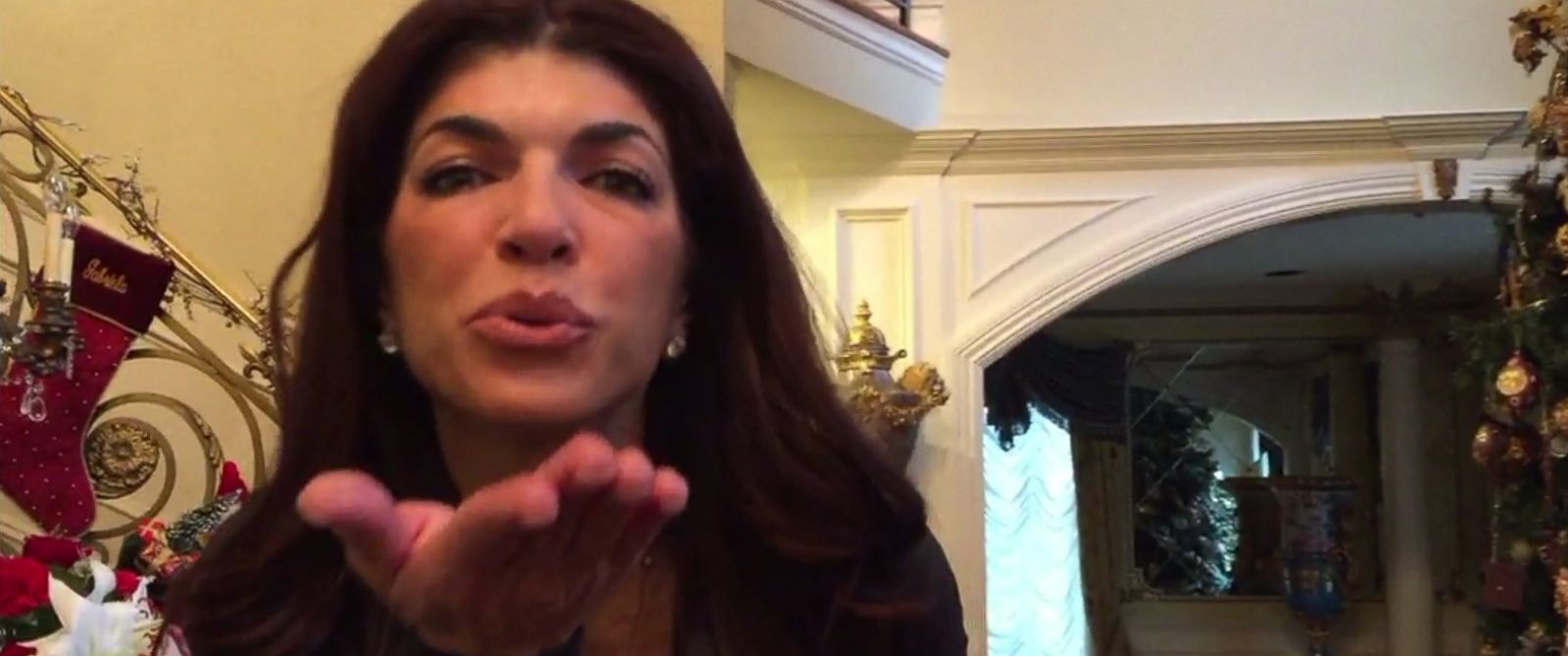 "PHOTO: Teresa Giudice blows a kiss to the camera in a video posted on Dec. 30, 2015 on the website for Bravos, ""The Daily Dish."""