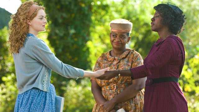 "PHOTO: In Jackson, Mississippi in 1963, Skeeter Phelan (Emma Stone), Minnie Jackson (Octavia Spencer) and Aibileen Clark (Viola Davis) together take a risk that could have profound consequences for them all in DreamWorks Pictures' drama, ""The Help"", based"