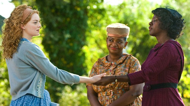 "PHOTO: Emma Stone, left and Viola Davis, right, along with Octavia Spencer are seen in a seen from their new movie ""The Help"" in theaters on Aug. 10, 2011."