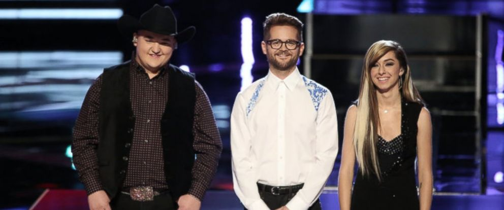 "PHOTO: From left, Jake Worthington, Josh Kaufman and Christina Grimmie are pictured on ""The Voice."""