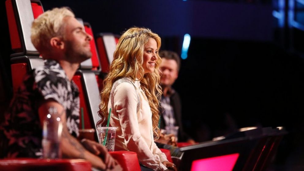 "PHOTO: From left, Adam Levine, Shakira and Blake Shelton are pictured on ""The Voice"" on May 12, 2014."