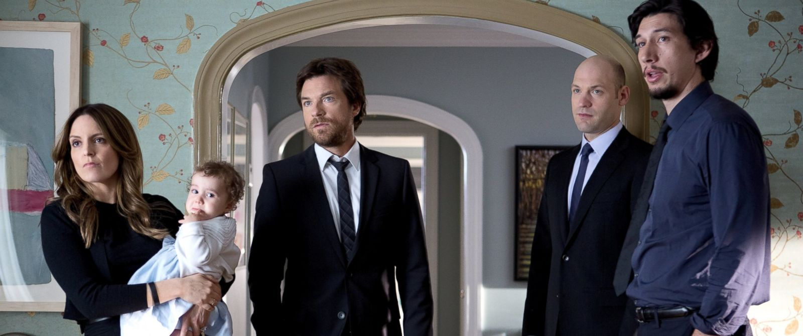 """PHOTO: From left, Tina Fey, Jason Bateman, Corey Stoll, and Adam Driver are pictured in a still from """"This Is Where I Leave You."""""""