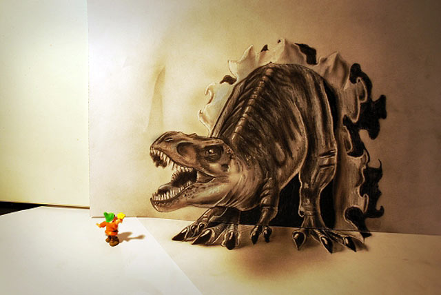 ht tyrannosaurus gnome jef 130620 vblog 3 D Pencil Sketches Leap Off the Page