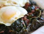 PHOTO: Rachel Willens vinegar braised greens with fried eggs are shown here.