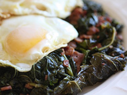 Rachel Willen's vinegar braised greens with fried eggs are shown here.