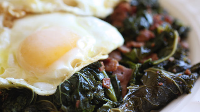 PHOTO: Rachel Willen's vinegar braised greens with fried eggs are shown here.