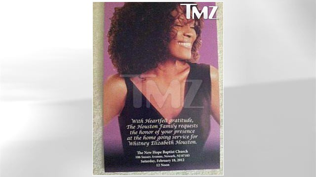 PHOTO: The official Whitney Houston invitation, obtained by TMZ, reads, &quot;With heartfelt gratitude, the Houston Family requests the honor of your presence at the home going service for Whitney Elizabeth Houston.&quot;