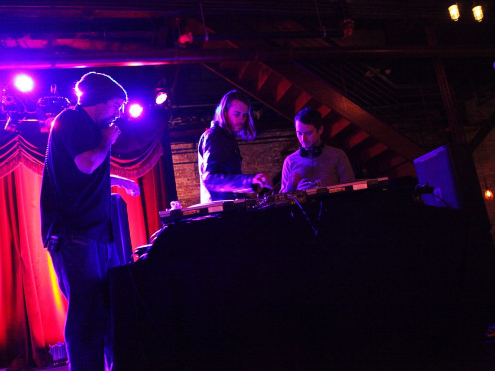 PHOTO: Zach Cowie, center, and Elijah Wood, right, are pictured during soundcheck at Brooklyn Bowl in Brooklyn, N.Y. on Jan. 19, 2015.