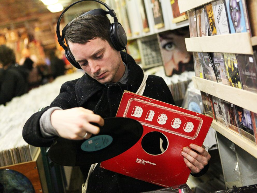 PHOTO: Elijah Wood is pictured inside A1 Records in New York City on Jan. 19, 2015.