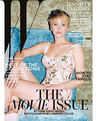 Jennifer Lawrence poses seductively for W