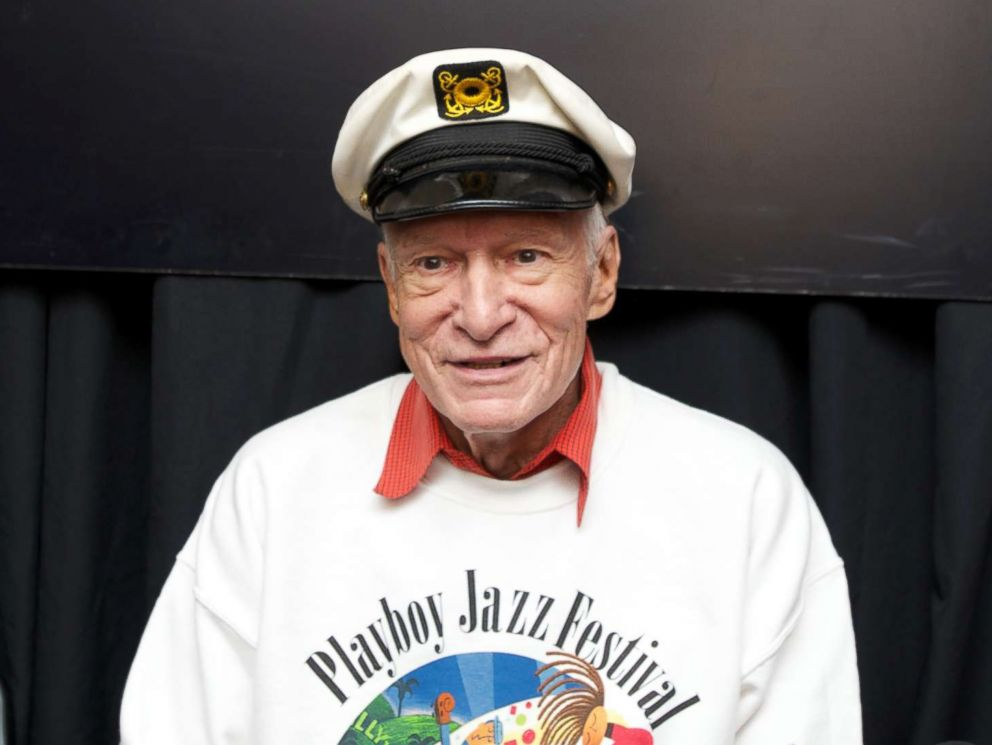 PHOTO: Publisher and Founder of Playboy Enterprises Hugh Hefner is interviewed at the 35th Annual Playboy Jazz Festival at The Hollywood Bowl, June 15, 2013 in Los Angeles.