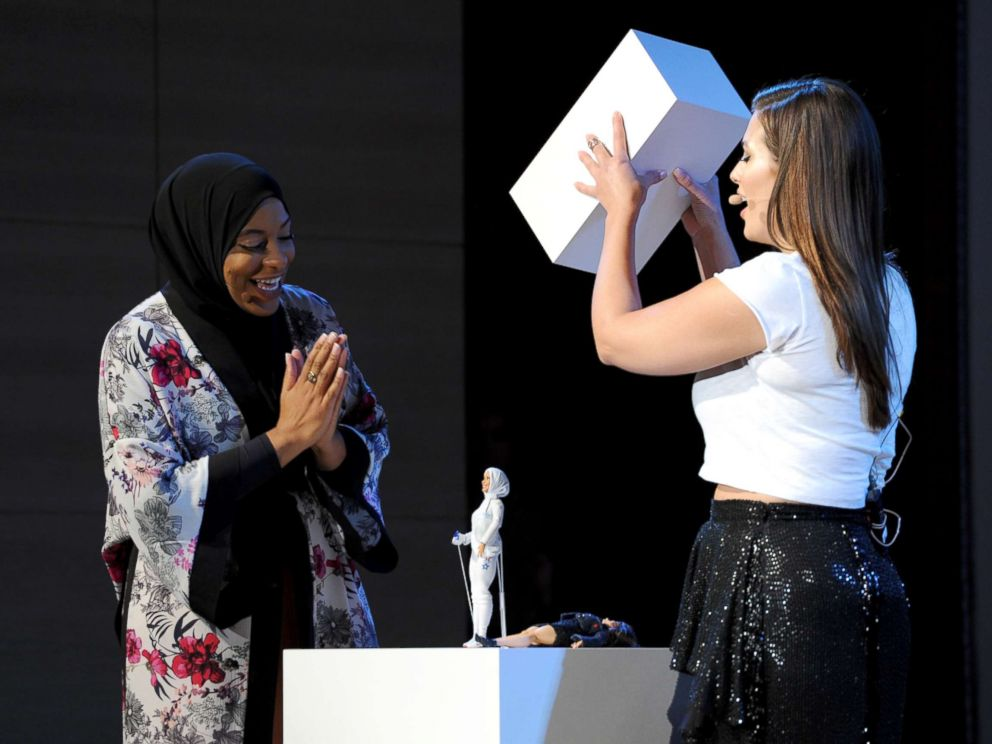 PHOTO: U.S. Olympic Medalist Ibtihaj Muhammad and model/host Ashley Graham reveal the Ibtihaj Muhammad Barbie doll during Glamour Celebrates 2017 Women Of The Year Live Summit at Brooklyn Museum, Nov. 13, 2017, in New York City.