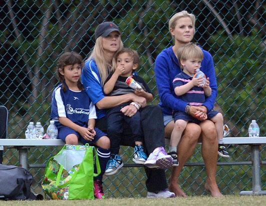Elin Nordegren Coaches Soccer Game With Her Kids