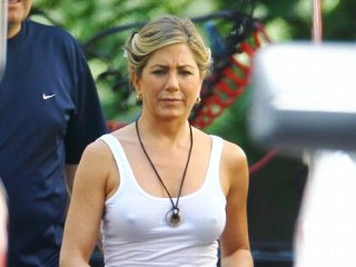 Photos: Jennifer Aniston On Set in Cut Off Jean Shorts