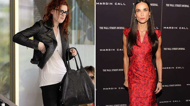 "PHOTO: Rumer Willis, left, is seen at her hotel in Miami Beach, Fla. before leaving for the airport to return to L.A., March 6, 2012. Demi Moore, right, is seen at the ""Margin Call"" premiere Oct. 17, 2011."