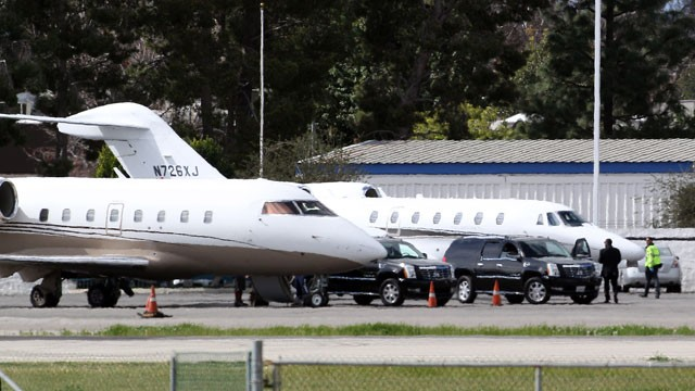PHOTO: A view of Tyler Perry's private jet (plane on the right) is transporting Whitney Houston's body from California to New Jersey, Feb. 13, 2012. The plane on the left is a private jet taking Whitney Houston's family members back to the East Coast.