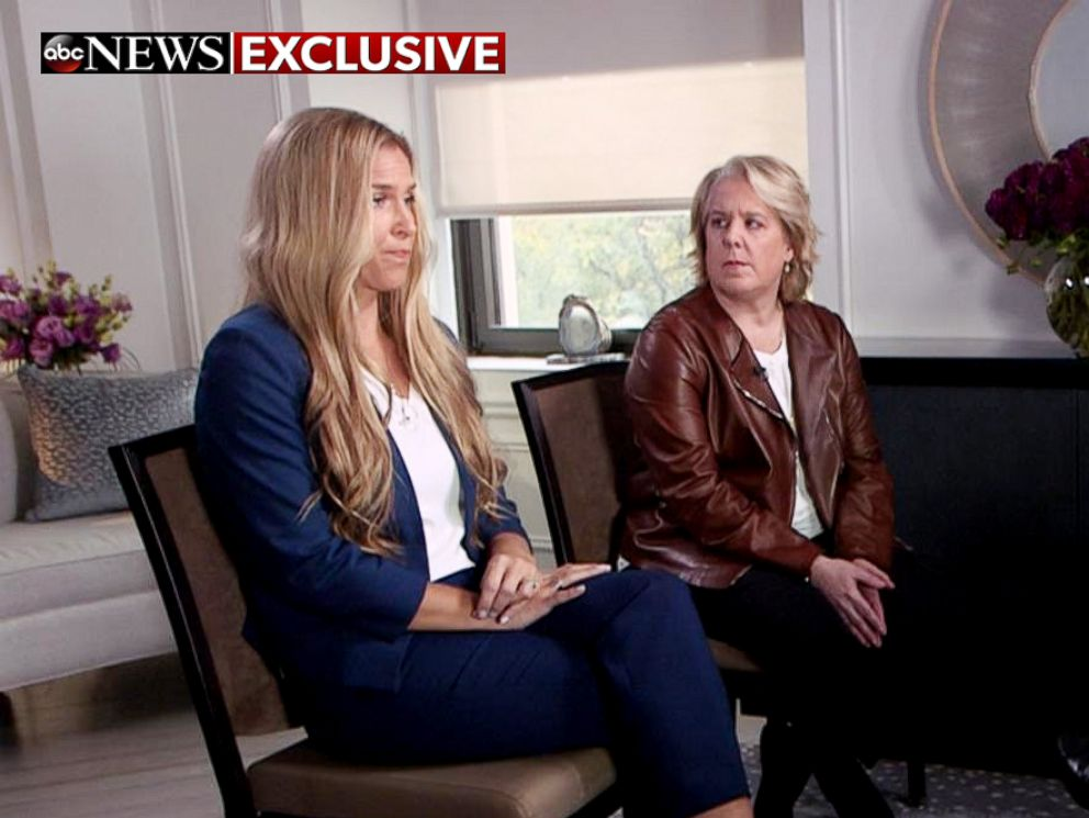 PHOTO: Melanie Kohler, left, who accused filmmaker Brett Ratner of rape, and her attorney, Robbie Kaplan, speak to ABC News chief anchor George Stephanopoulos.