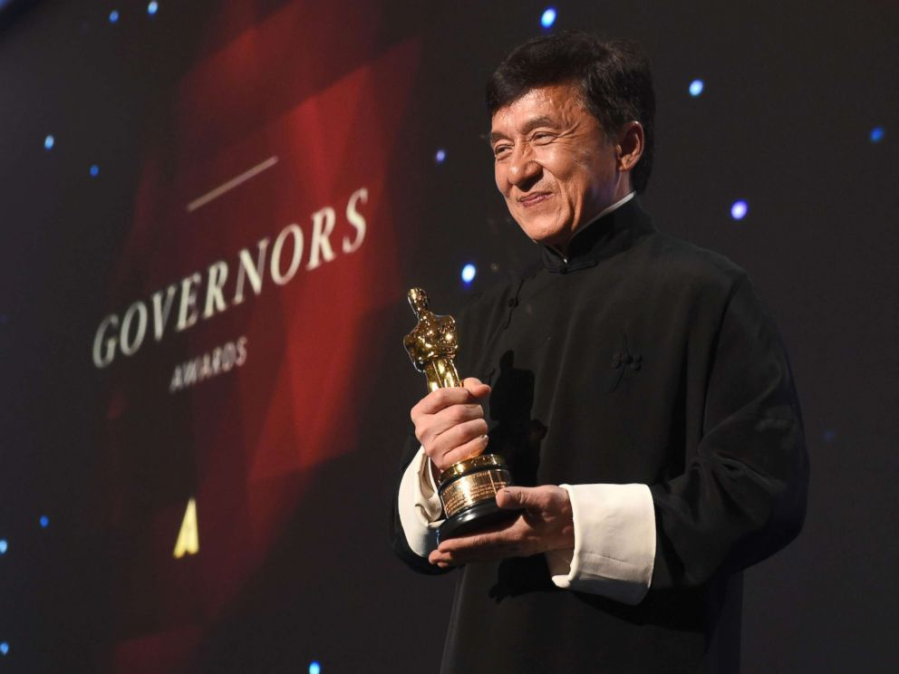 PHOTO: Honoree Jackie Chan poses with his Honorary Oscar Award during the 8th Annual Governors Awards hosted by the Academy of Motion Picture Arts and Sciences at the Hollywood & Highland Center in Hollywood, Calif., on Nov. 12, 2016.