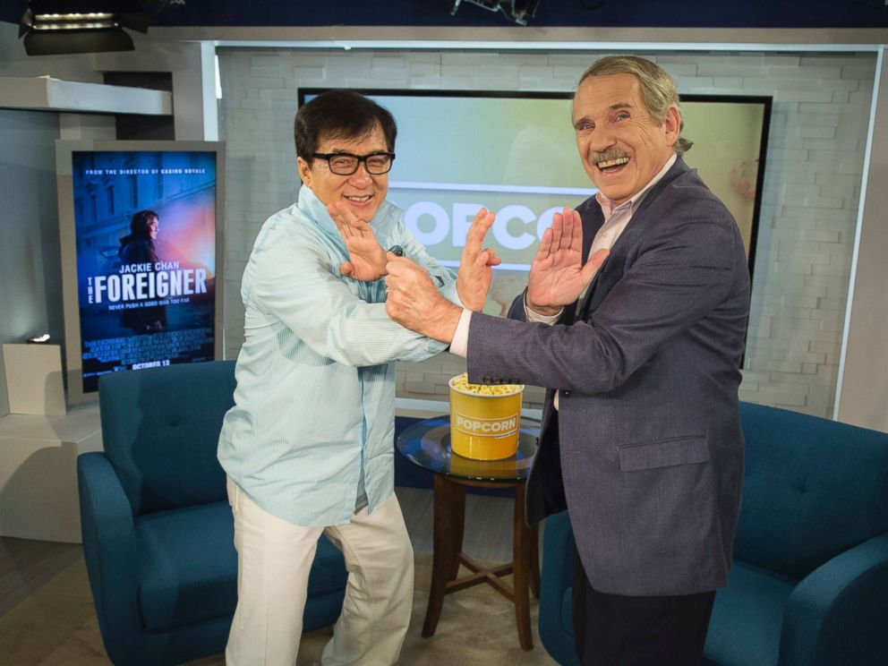 PHOTO: Peter Travers and Jackie Chan at the ABC News studios in New York City, Oct. 10, 2017.