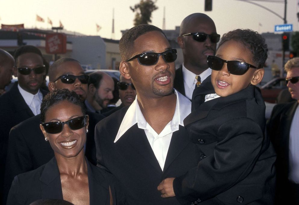 PHOTO: Actress Jada Pinkett, actor Will Smith and son Trey Smith attend the Men in Black premiere, June 25, 1997, in Hollywood, Calif.