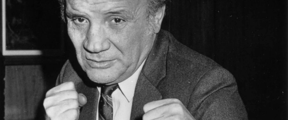 PHOTO: Jake LaMotta pulls a boxing pose in Milan during a European tour to promote his autobiography, and the film Raging Bull, upon which the book is based on Feb. 25, 1981.