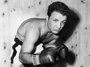 PHOTO: American contender for the Middleweight title, Jake La Motta, trains to meet Marcel Cerdan, the French middleweight champion, in Detroit, circa 1949.