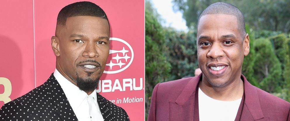 PHOTO: Pictured (L-R) are Jamie Foxx on June 14, 2017 and Jay-Z on Feb. 11, 2017, in Los Angeles.