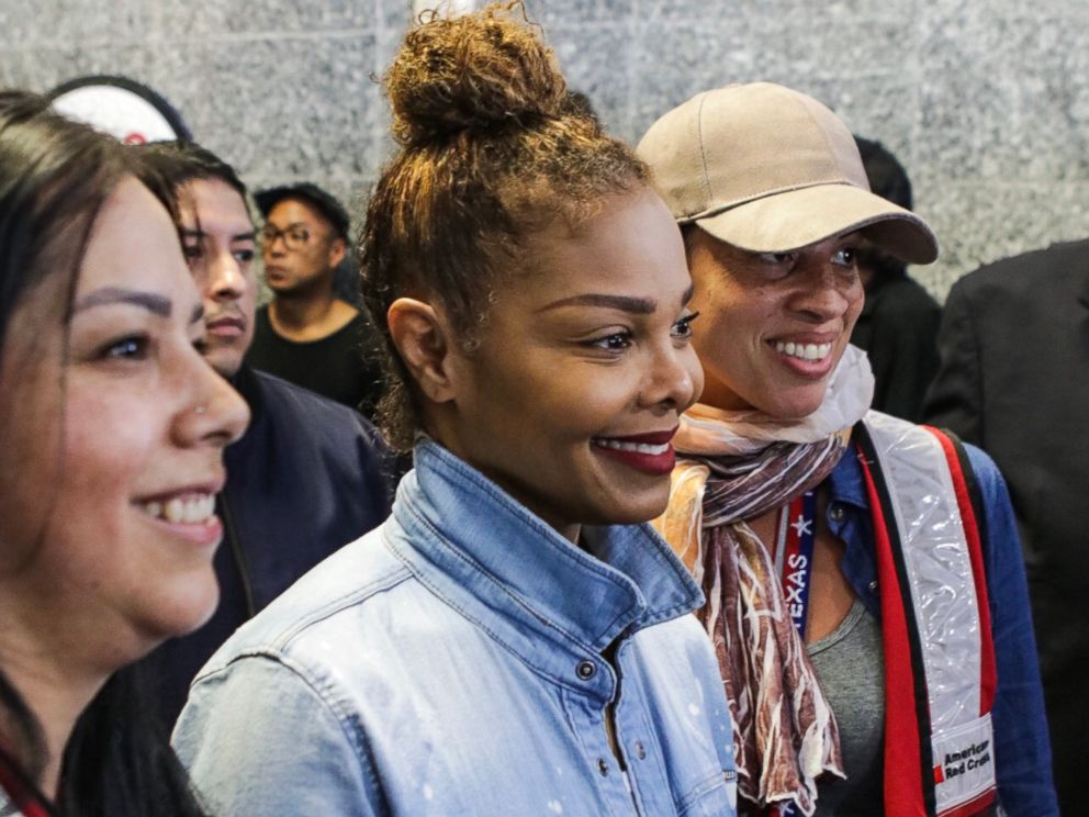PHOTO: Janet Jackson surprises victims of Hurricane Harvey on Sept. 8, 2017 ahead of her show in Houston.