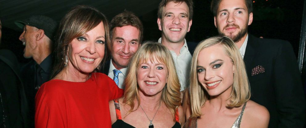 """PHOTO: Allison Janney, Steven Rogers, Tonya Harding, Bryan Unkeless, Margot Robbie and Ricky Russert attend the after party for the premiere of Neon and 30 Wests """"I, Tonya,"""" Dec. 5, 2017, in Hollywood, Calif."""