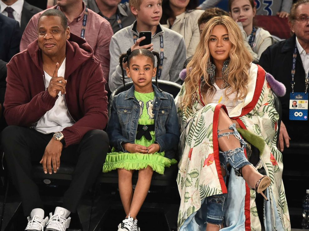 PHOTO: Jay Z, Blue Ivy Carter and Beyonce Knowles attend the 66th NBA All-Star Game at Smoothie King Center, Feb. 19, 2017, in New Orleans.