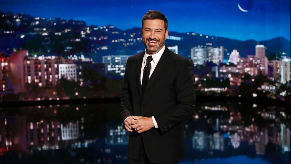 Jimmy Kimmel brings infant son on stage in emotional return
