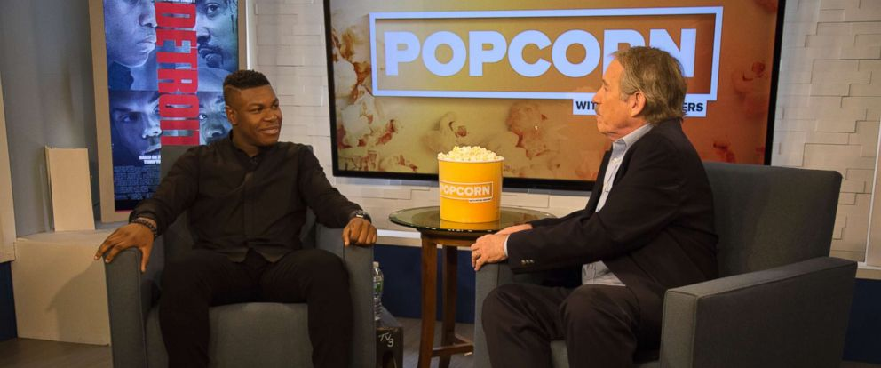 "PHOTO: John Boyega appears on ""Popcorn with Peter Travers"" at ABC News studios, Aug. 1, 2017, in New York City."