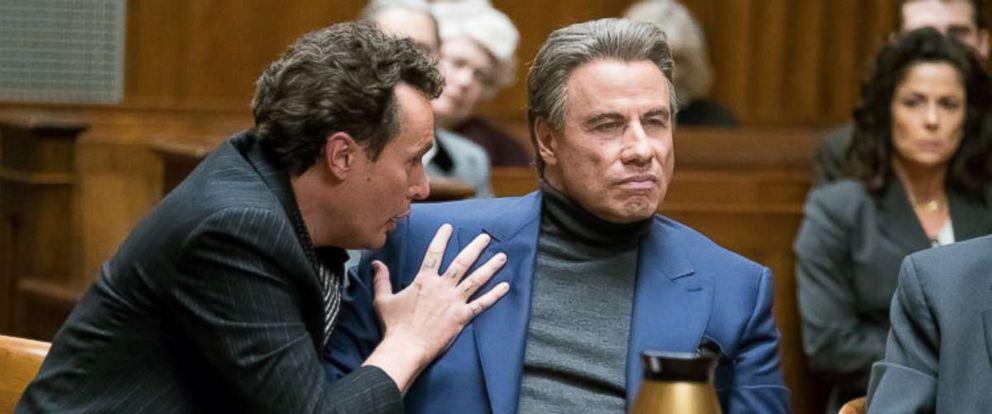 "PHOTO: John Travolta, right, as John Gotti Sr., in a scene from ""Gotti."""