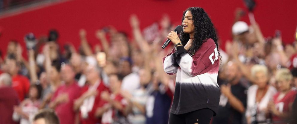 PHOTO: Singer Jordin Sparks performs the National Anthem before the start of the the NFL game between the Arizona Cardinals and the Dallas Cowboys at the University of Phoenix Stadium, Sept. 25, 2017, in Glendale, Ariz.