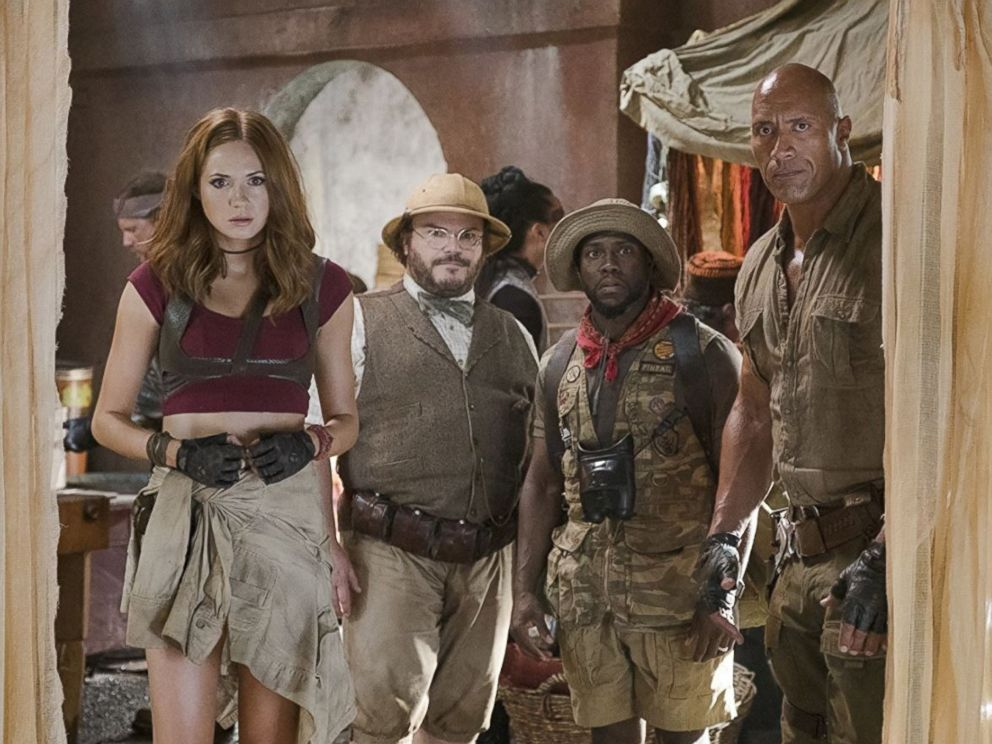 PHOTO: From left, Karen Gillan, Jack Black, Kevin Hart and Dwayne Johnson in Jumanji: Welcome to the jungle.