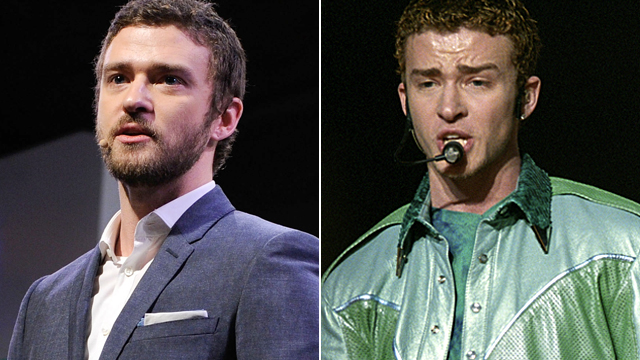 PHOTO: Justin Timberlake in 2012, right, and 2001.