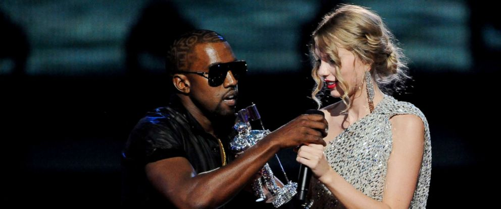 """PHOTO: Kanye West jumps onstage after Taylor Swift won the """"Best Female Video"""" award during the 2009 MTV Video Music Awards at Radio City Music Hall, Sept. 13, 2009, in New York."""
