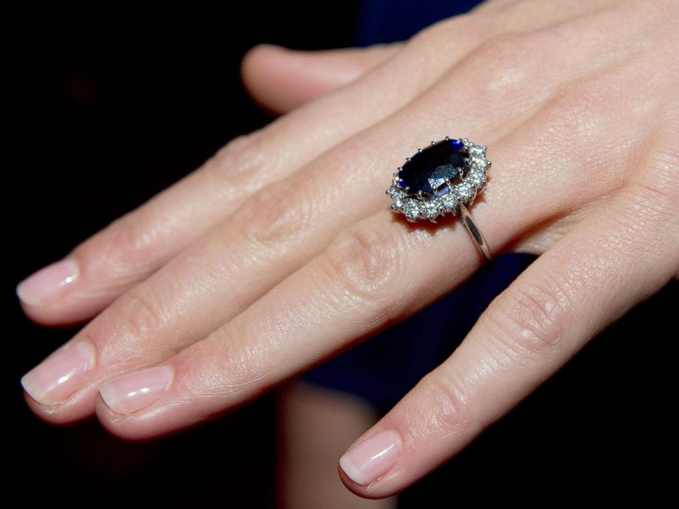PHOTO: A close up of Kate Middletons engagement ring as she poses for photographs in the State Apartments with her fiance Prince William of St James Palace, Nov. 16, 2010, in London.