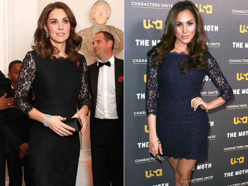 PHOTO: Britains Kate, the Duchess of Cambridge, at the 2017 Gala Dinner for The Anna Freud National Centre for Children and Families, in London, Nov. 7, 2017   Meghan Markle at the Characters Unite/Moth Storytelling Event in Los Angeles, Feb. 15, 2012.