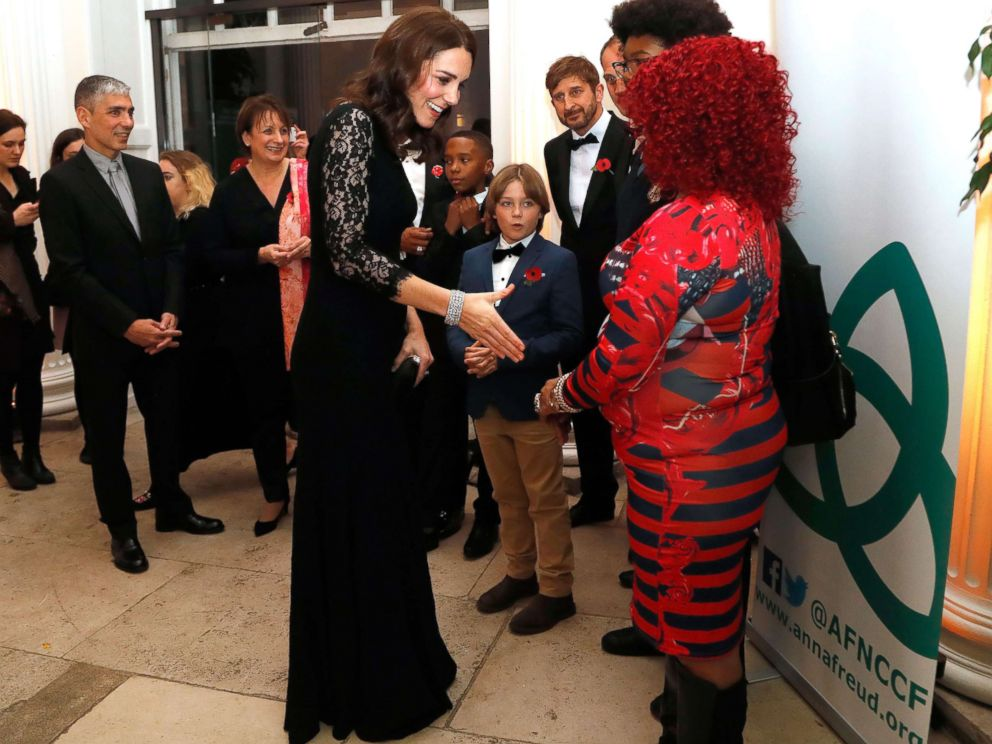 PHOTO: Kate Middleton speaks to various guests at the 2017 Gala Dinner for The Anna Freud National Centre for Children and Families (AFNCCF) at Kensington Palace in London, Nov. 7, 2017.