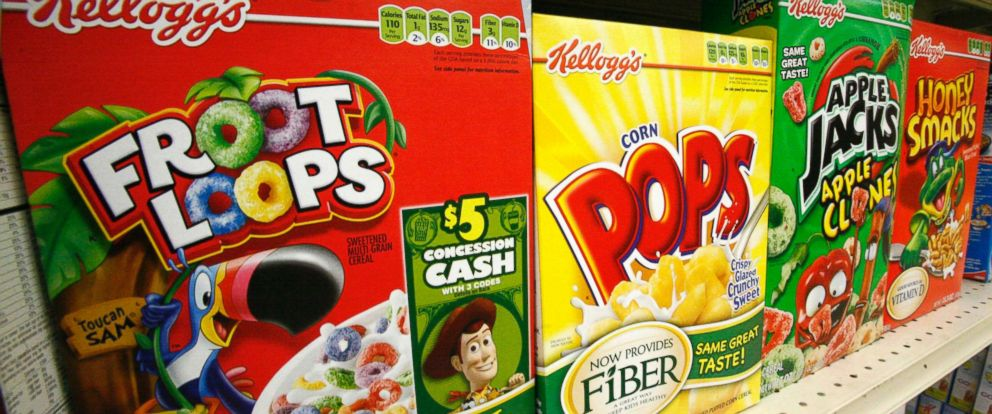 PHOTO: Boxes of Kelloggs Froot Loops, Corn Pops, Apple Jacks, and Honey Smacks are pictured on the shelf of a Mt. Lebanon, Pa., grocery store, June 25, 2010.