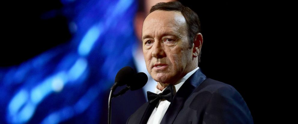 PHOTO: Kevin Spacey speaks onstage at the 2017 AMD British Academy Britannia Awards Presented by American Airlines and Jaguar Land Rover at The Beverly Hilton Hotel, Oct. 27, 2017 in Beverly Hills, Calif.