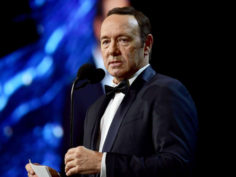PHOTO: Kevin Spacey speaks onstage at the 2017 AMD British Academy Britannia Awards, Oct. 27, 2017, in Beverly Hills, California.