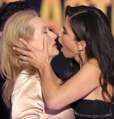 Phrase Actresses kissing each other