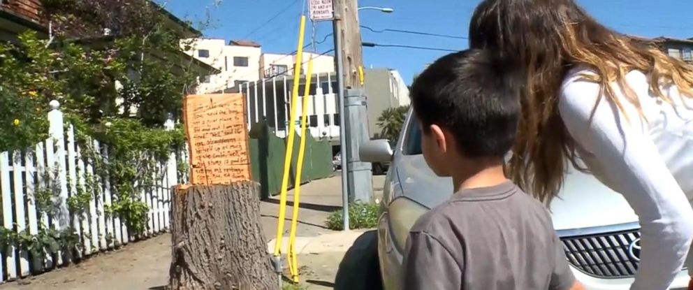 "PHOTO: An anonymous person inscribed words from ""The Giving Tree"" onto a tree stump in an Oakland, Calif., neighborhood."