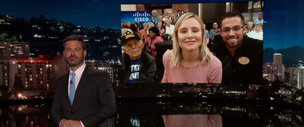 "PHOTO: Kristen Bell appeared live from Florida on ""Jimmy Kimmel Live!"" Sept 11, 2017."