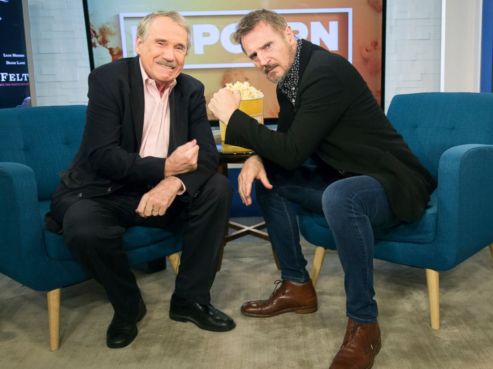 PHOTO: Liam Neeson appears on Popcorn with Peter Travers at ABC News studios, Sept. 21, 2017, in New York City.