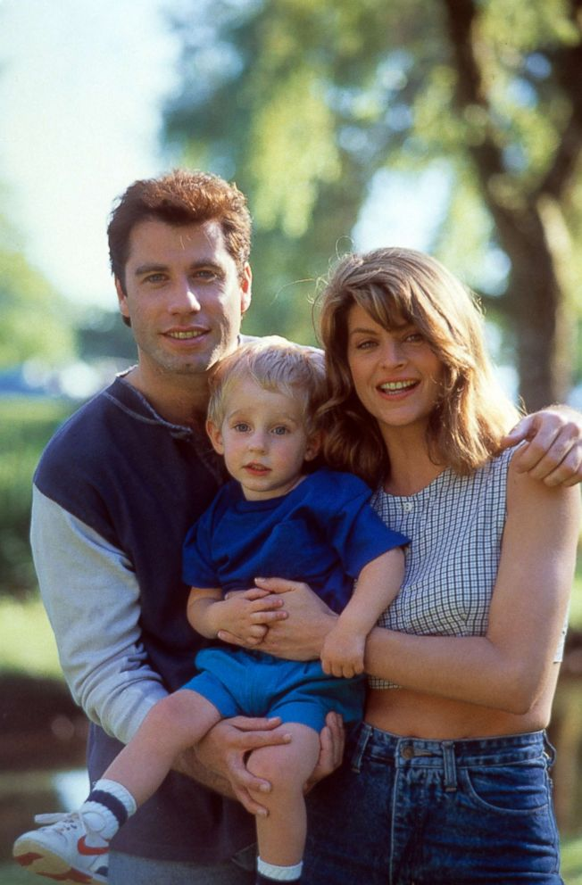 PHOTO: John Travolta and Kirstie Alley holding a child in a scene from the film Look Whos Talking, 1989.