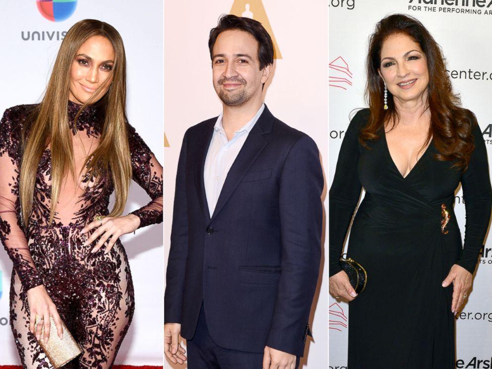 PHOTO: Jennifer Lopez in Las Vegas, Nov. 17, 2016 | Composer Lin-Manuel Miranda in Beverly Hills, Calif., Feb. 6, 2017 | Gloria Estefan in Miami, March 30, 2017.